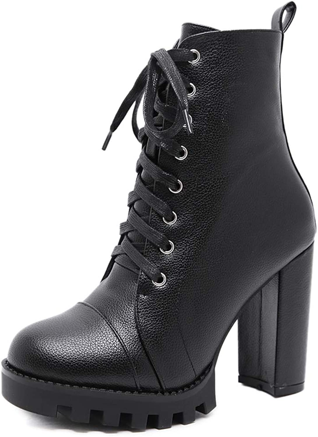 Btrada Women Ankle Boots Fashion Round Toe Lace Up Cross Tied High Heels Autumn Winter Platform Booties Black