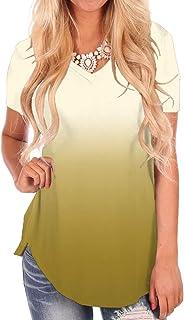 NIASHOT Women's Short and Long Sleeve V-Neck Loose Casual...