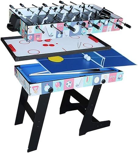 venta Lcyy-game Deluxe Plegable 4 en 1 Mesa Mesa Mesa de Juego Superior de múltiples Funciones de Mesa combinada Constante de Tenis (Ping Pong), Glide Hockey, futbolín, Pool Set para Niños y Niños azul  venta caliente