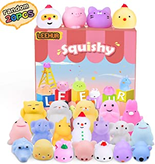 LEEHUR Christmas Squishies Party Favors Kids Mochi Squishy 20Pcs Kawaii Soft Mini Moji Moji Squeeze Stress Anxiety Relief Toys Easter Basket Stocking Stuffers Fillers Goodie Bag Fillers Random
