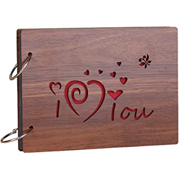 Sehaz Artworks ILOVEYOU Scrapbook Photo Albums for 4x6 Photos for Baby Birthdays, Couples Husband Wife (26 cm X 16 cm X 4 cm, Brown)