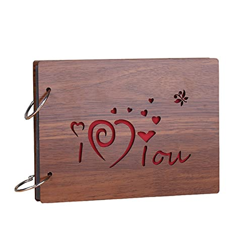 Sehaz Artworks I Love You Wooden Scrapbook Photo Album For Memorable Gift On Boyfriend Girlfriend Husband