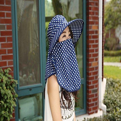 Inovey New da Donna Visiera Wave a Protezione Solare Antivento Estate Tessuto Punto dell' Onda Cappello da Sole con Maniche–Navy