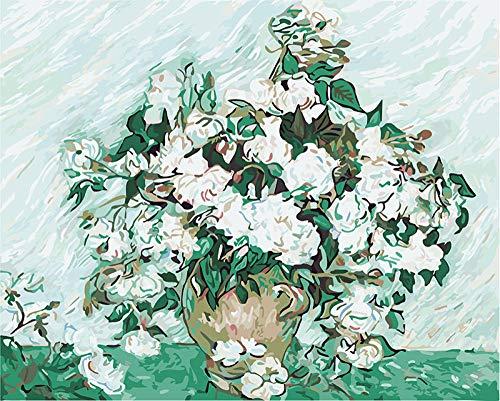 CaiHongPZZPanda Painting by Numbers DIY Pintura al óleo Digital Pintura sobre Lienzo Decoración del hogar Van Gogh - Rosas blancas-40x50cm-Con Marco
