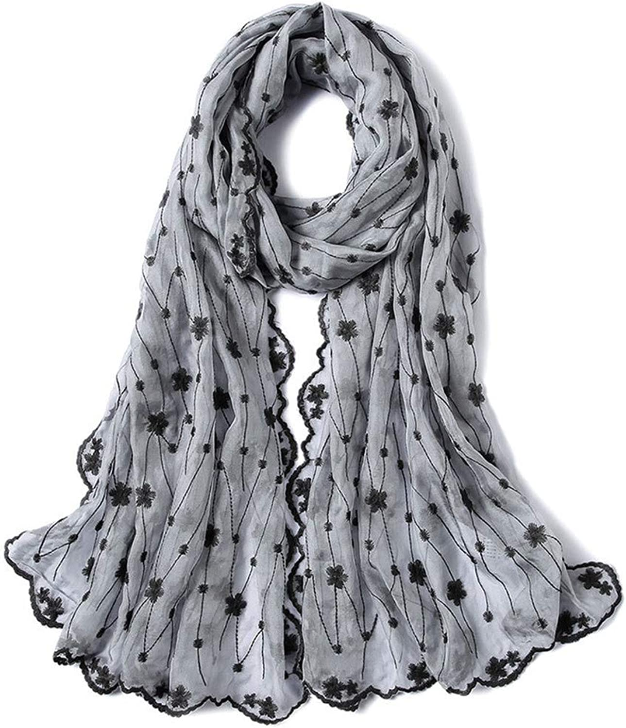 Women Lady Girl Gift Women's Classic Silk Scarves Silk Embroidered Fabric Gift Towel Embroidery Flower Lady Grey Party Lightweight Scarf
