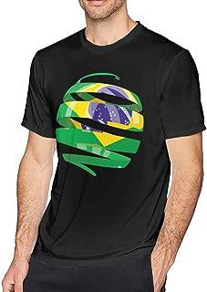 YOIGNG Hawaiian 3D Printed Flag Of Brazil T-Shirt Short Sleeve Crewneck Tee Pullover Casual Tops