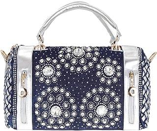 Handbag - Women Rhinestone Denim Crossbody Bag Ladies Weaving Cylindrical Shoulder Bag Tote Bag With Adjustable Strap For Daily Travel Shopping, 34 * 23 * 13CM Worth having (Color : Silver)
