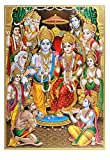 Vintage Golden Zari Art Work Photo Of Ram Darbar Without Frame Poster Big (24 X 36 Inches) Religious Decor