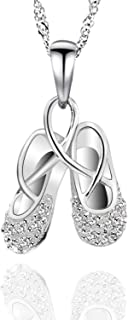 925 Sterling Silver Cubic Zirconia Ballet Slippers Shoes Necklace for Teen & Dancer 18''