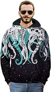 Octopus's Tentacles Patterned Hoodie Winter Hooded Sweatshirts Funny Print Street Snap Hoody Creative Pullover