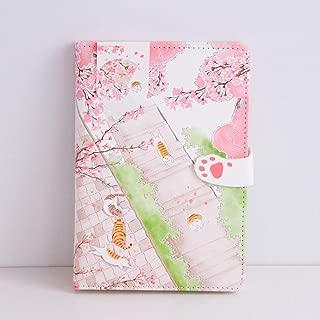ZHUIUI Cuaderno Cute Pink Sakura Cat Diary Funda de Cuero Notebook Planner Dot Grid Line Papel en Blanco Página de Papel Papelería de Regalo para niñas, Cat Road