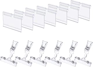 50 Pack Plastic Wire Shelf Price Label Holder and 20 Pack Clip-on Rotatable Merchandise Sign Display Holders(Clear)