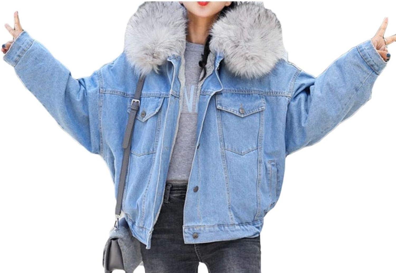 Desolateness Women Lined Winter Fur Hooded Denim Jacket Coat Outwear