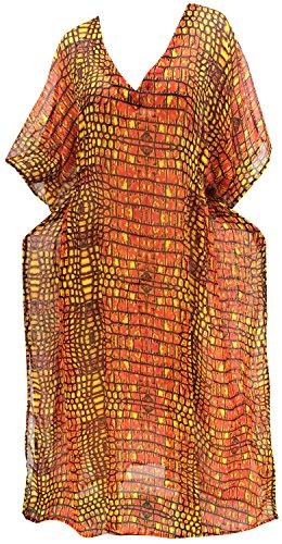 LA LEELA Damen Chiffon überdimensional Maxi Gedruckt Kimono Kaftan Tunika Kaftan Damen Top Freie Größe Loungewear Urlaub Nachtwäsche Strand jeden Tag Kleider Orange_H479