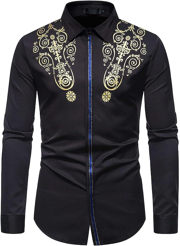 Mens Dress Shirts Long Sleeve Slim Fit Bronzing Printed Button Down Shirts Mens Classic Fit Non-Iron Cotton Shirt