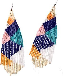 Bead Embroidery Earrings Hematite Earrings Galaxy Jewelry Beaded Fringe Earrings Long Seed Bead Earrings Silver Star Earrings