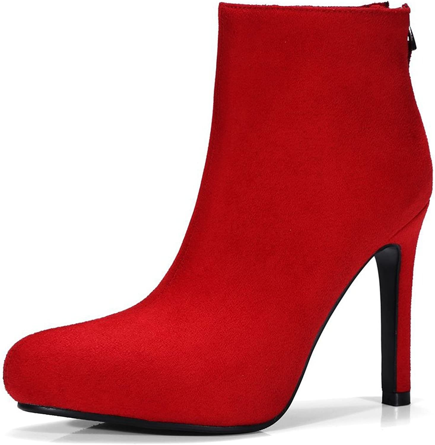 SaraIris Women's Round Toe Thin High Heels Zipper Elegant Frosted Flock Ankle Boots