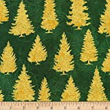 Kaufman Metallic Winter's Grandeur 8 Tannenbäume grün