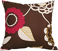 TangDepot Decorative Handmade Floral Cotton Throw Pillow Covers/Pillow Shams, (16x16, Coffee)