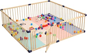 Hxmwl Playpens Children s Fence Baby Playpen Indoor Baby Wooden Safety Frame  Two-way Door Fence  Children s Playground
