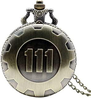 Clockworkshop Hot Game Fallout 4 Theme Pendant Vault 111 Bronze Quartz Chain Pocket Watch
