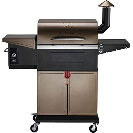 Z GRILLS ZPG-600D 2021 New Model Wood Pellet Grill & Smoker 8 in 1 BBQ Grill Auto Temperature Control, 573 sq.in. ,Cooking Capacity, Bronze