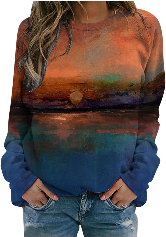 Hotkey Women's Sweatshirt Crewneck Long Sleeve Tops Cute Cartoon Cat Striped Printed Pullover Plus Size Casual Blouse Shirts