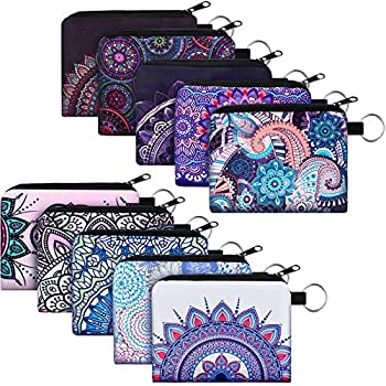 10 Pieces Small Coin Purse Boho Change Purse Pouch Mini Wallet Coin Bag with Zipper Exquisite Present for Women Girls on Valentine s Day  Exotic Flower Print,4.52 x 3.74 Inch