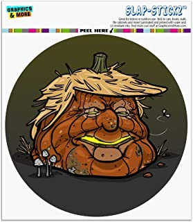 Graphics and More Trumpkin Donald Trump Pumpkin Jack-O-Lantern Rotting Rotten Moldy Automotive Car Window Locker Circle Bumper Sticker