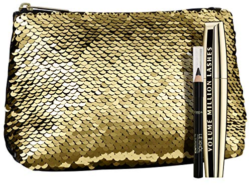 L'Oréal Paris Luxuriöse Kosmetiktasche in Gold mit Volume Million Lashes Mascara + gratis Mini Le...