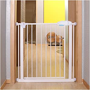 Dual Lock Baby Safety Gates For Stairs Dual Lock Fireplace Guardrail Walk Through Fence Stairs Barrier Pet Isolation Fence Pressure Mount  Color High75cm  Size Width 120-127cm