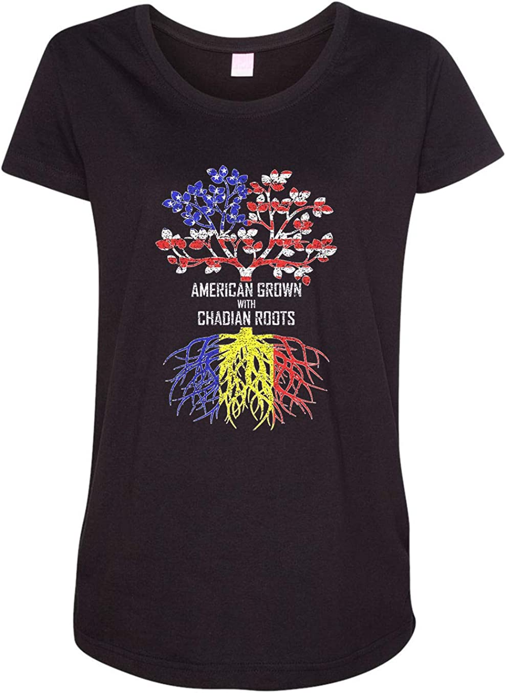 HARD EDGE DESIGN Women's American Grown with Chadian Roots T-Shirt