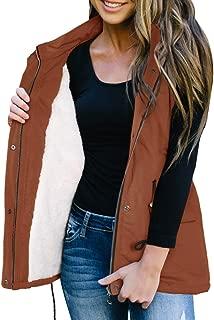 Ivay Women's Winter Buffalo Plaid Jacket Vest with Sherpa Fleece Lining