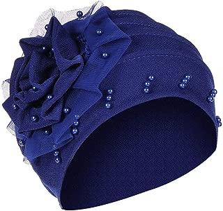 Tronet Turbans for Women, Pearl Beading India Hat Muslim Ruffle Cancer Chemo Beanie Turban Wrap Cap