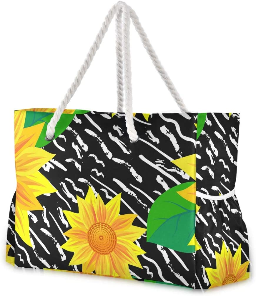 Large Beach Bags Totes Canvas Sunflower Tote NEW before selling New life Bag Shoulder Painte