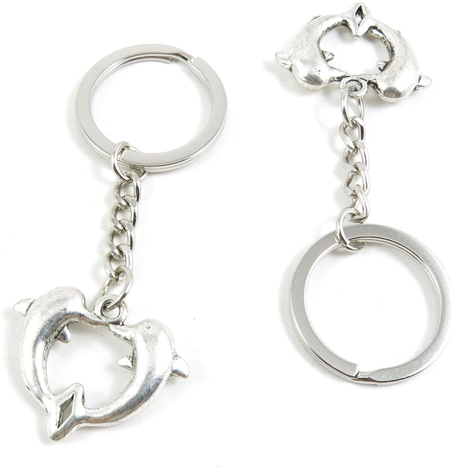 130 Pieces Fashion Jewelry Keyring Keychain Door Car Key Tag Ring Chain Supplier Supply Wholesale Bulk Lots L8RP1 Dolphin