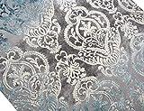 Designer Teppich Moderner Teppich Wollteppich Meliert Wohnzimmer Teppich Wollteppich Ornament Türkis Grau Cream Größe 120x170 cm - 2