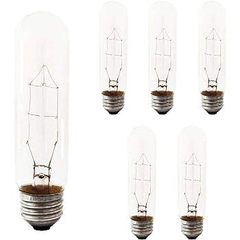 Sterl Lighting Pack Of 6 T10 Clear Tubular String Incandescent Light Bulb 60 Watt 120 Volts E26 Medium Base 2700k 390 Lumens Amazon Com