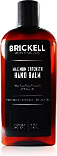 Brickell Men's Maximum Strength Hand Lotion for Men, Natural and Organic Fast-Absorbing Hand Lotion with Vitamin E, Shea Butter, and Jojoba, 4 Ounce, Scented