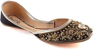 "Unze Women ""BEY"" Beaded Girls Wedding Pearls Flats Pear Shaped Stone Indian Sari Bridal Khussa UK Size 3-8 - WS-31"