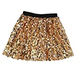 Flofallzique Gold Skirt for Girls Sequins Sparkly Skirts Kids Dance Dress up(8, Gold)