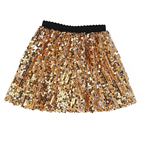 Flofallzique Glitter Girls Skirts Gold Sequins Shorts Sparkly Girls Clothes (10T, Gold)
