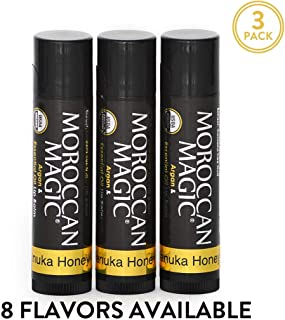 Moroccan Magic Organic Manuka Honey Lip Balm 3 Pack | Made with Natural Cold Pressed Argan and Essential Oils | High Quality Lip Balm | Smooth Application | Non-Toxic, Cruelty Free