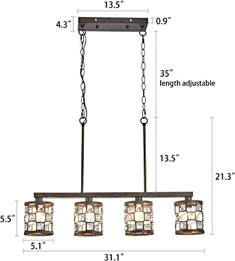 4-Light Kitchen Light Fixtures, Farmhouse Chandelier with Oil Rubbed Bronze Finish, Island Pendant Lighting for Dining Room a