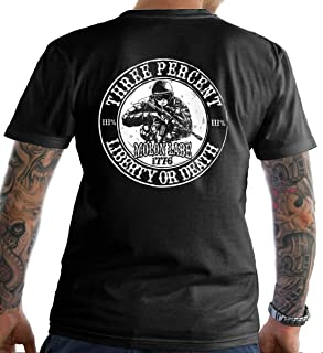 Sons Of Liberty Three Percent. Liberty or Death. T-Shirt. Made in USA