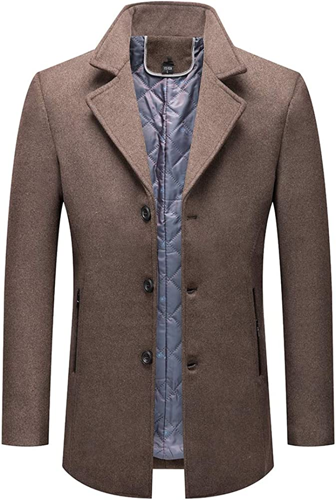 Boyland Men's Classic Wool Blend Overcoat Slim Fit Three Button Topcoat Thick Notched Lapel Jacket