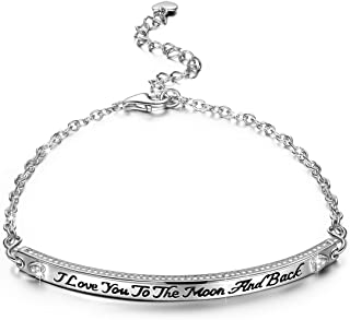 NINASUN Women Christmas Jewelry Gifts I Love You to The Moon and Back Sterling Silver Bracelet/Necklace Engraved Heart Designed Fine Jewelry Infinity of Love Hypoallergenic Material with Gift Box