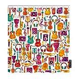 Moslion Duschvorhang Instrumente 183 x 183 cm Musik Festival Gitarre Trompete Noten Konzert Drum Mikrofon Lustige Duschvorhang für Badezimmer Dekoration Polyester