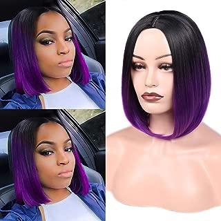 HANNE Ombre Purple Bob Wig Short Straight Bob Wig Heat Resistant Synthetic Hair Wigs for Women (Black to Purple)