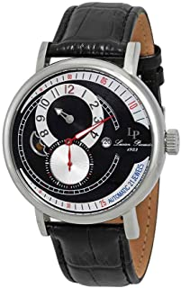 Men's 'Supernova' Automatic Stainless Steel and Black Leather Casual Watch (Model: LP-15157-01)
